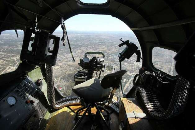 "This is another view from the bombadier's seat as the B-17 ""Aluminum Overcast"" flies over the Texas Hill Country Wednesday November 16, 2011."