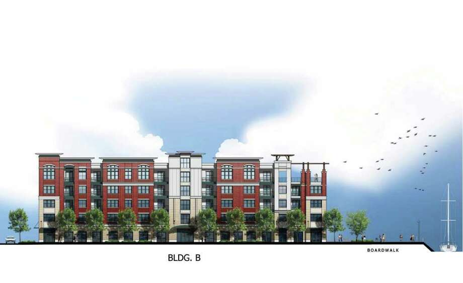 An artist rendering of a proposed 256-unit apartment complex facing the West Branch of Stamford Harbor in Waterside. Photo: Contributed Photo