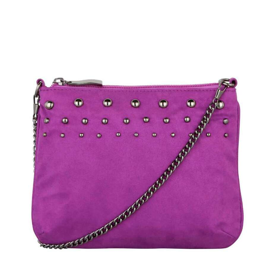 PAYLESS SHOESOURCE BUDGET MINDED: The Christian Siriano for Payless Chaney cross-body bag, $22.99, available in select Payless ShoeSource stores through November. Photo: Payless ShoeSource