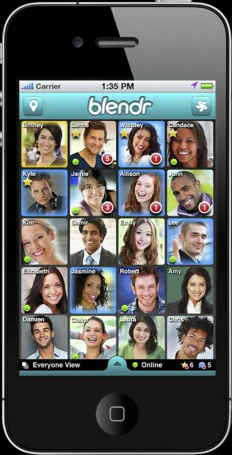 Blendr is a free, location-based app that allows you to see the whereabouts of nearby singles using GPS before connecting with them via private chat. Photo: Blendr