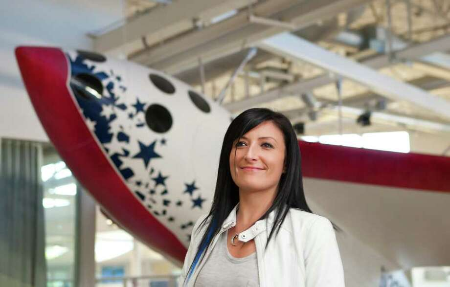 Tiffany Montague, head of Google's Space Initiative, in front of Google's replica of Space Ship One at Google's Campus in Mountain View, Calif., Friday, Nov. 4, 2011. Photo: Thomas Webb / ONLINE_YES