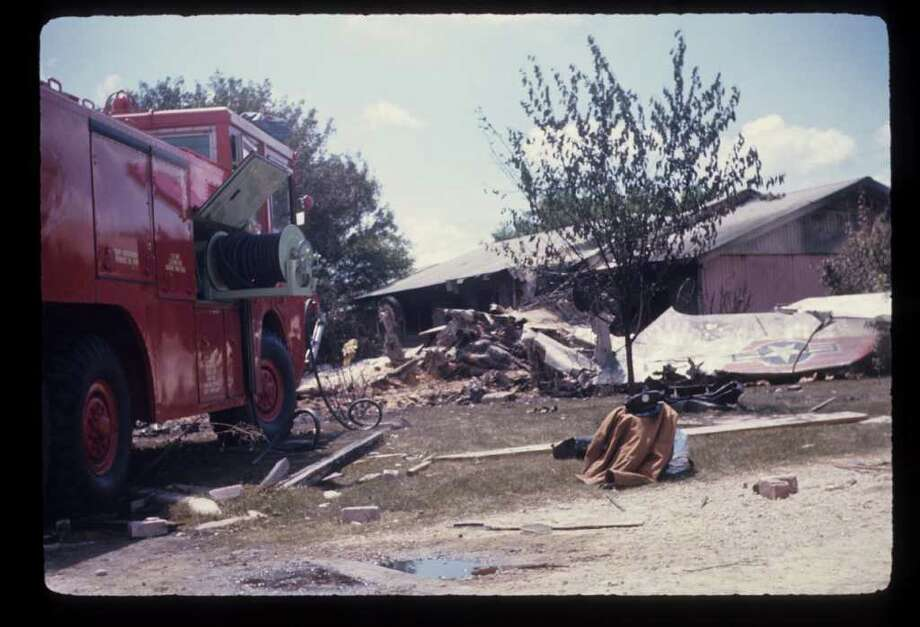A military jet crashed into a West Side home in 1970. Photo: San Antonio Fire Department Museum