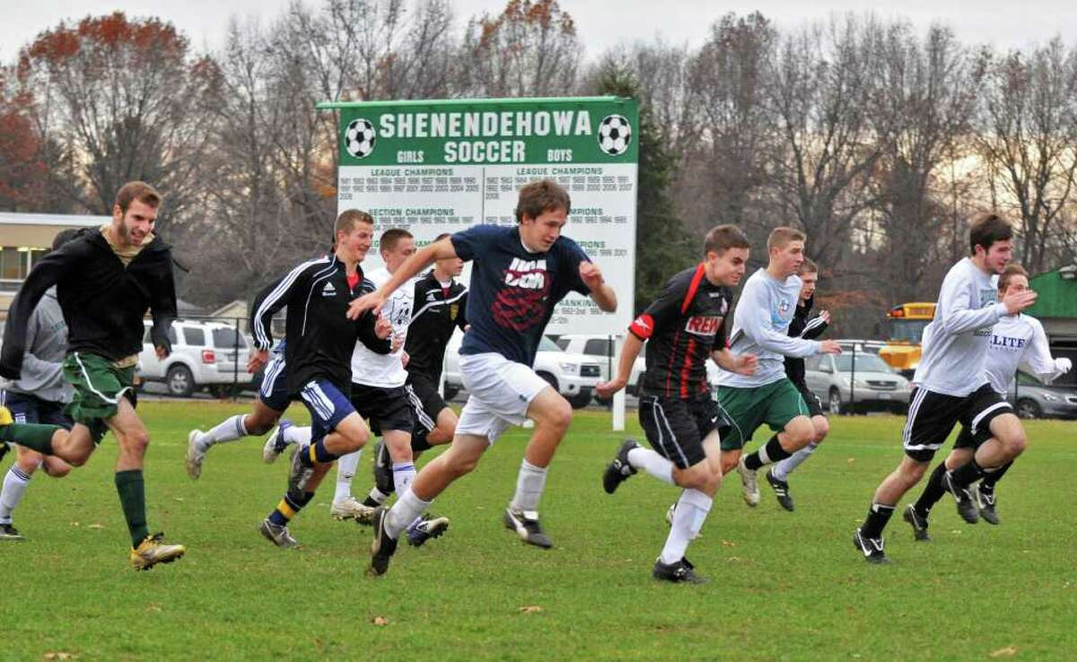 Shenendehowa boys soccer team practices in Clifton Park Tuesday Nov. 15, 2011, for their upcoming NYS boys soccer final four. (John Carl D'Annibale / Times Union)
