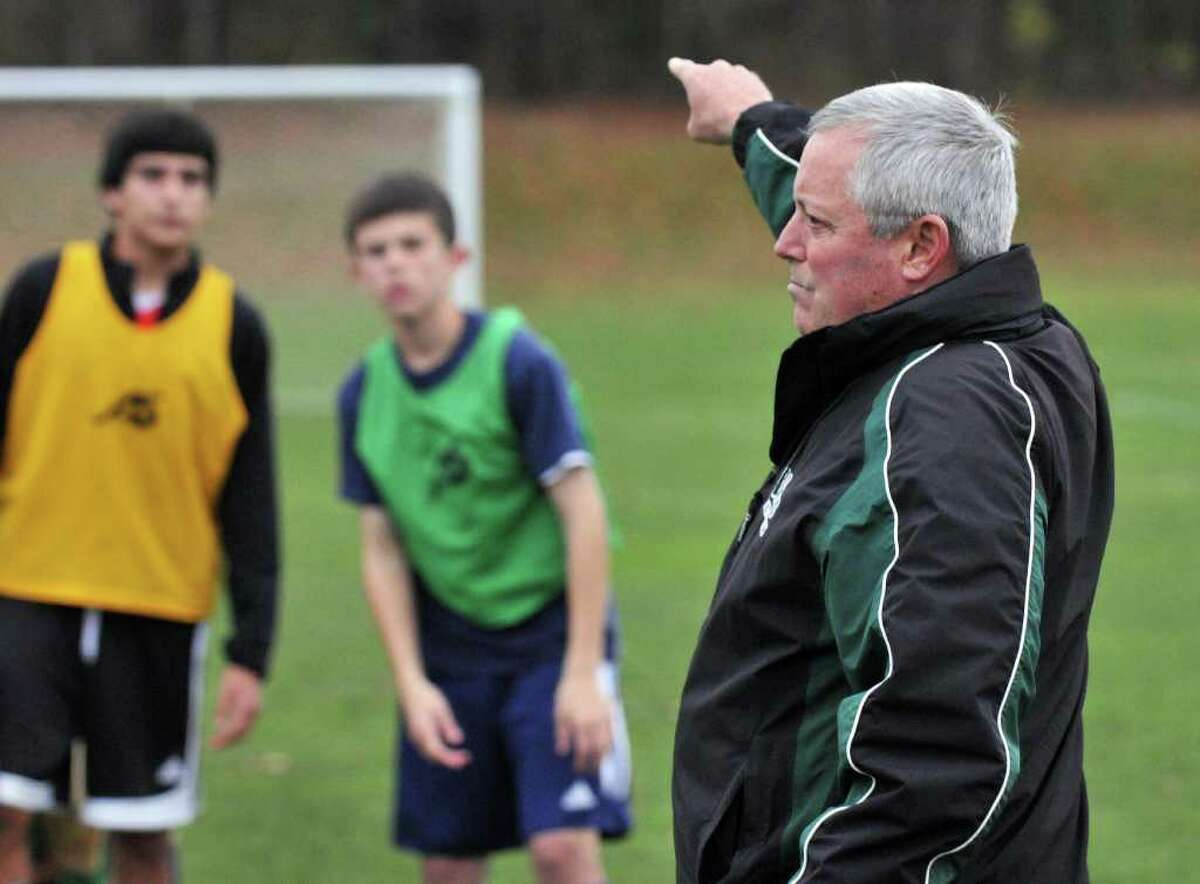 Coach Mike Campisi, at right, during Shenendehowa boys soccer practice in Clifton Park Tuesday Nov. 15, 2011, for their upcoming NYS boys soccer final four. (John Carl D'Annibale / Times Union)