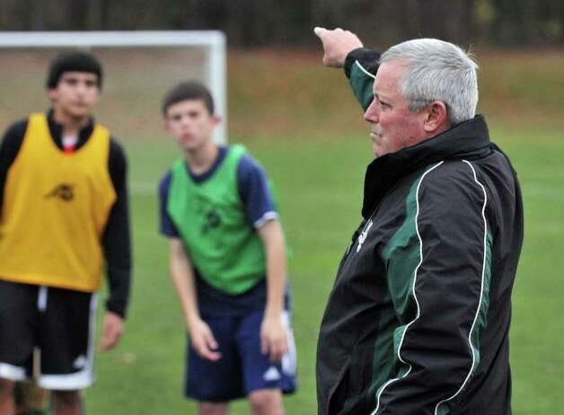 Coach Mike Campisi, at right, during Shenendehowa boys soccer practice in Clifton Park Tuesday Nov. 15, 2011, for their upcoming NYS boys soccer final four.   (John Carl D'Annibale / Times Union) Photo: John Carl D'Annibale / 00015413A
