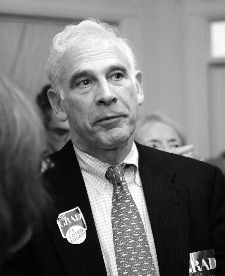 Bill Grad, the Democratic candidate for tax collector, thanks voters for their support. Photo: Helen Neafsey / Greenwich Time