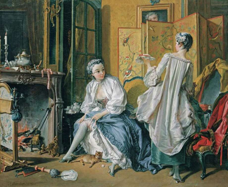 The Museum of Fine Arts, Houston PHOTOS DAILY LIFE: Lady Fastening Her Garter (1742) by Francois Boucher is on view at the MFAH. Photo: Museo Thyssen-Bornemisza, Madrid