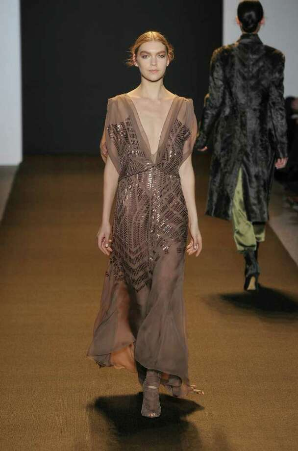 Getty images GLAMOROUS: J. Mendel's fall collection includes red-carpet-worthy gowns in chiffon. Photo: Frazer Harrison / Getty Images North America