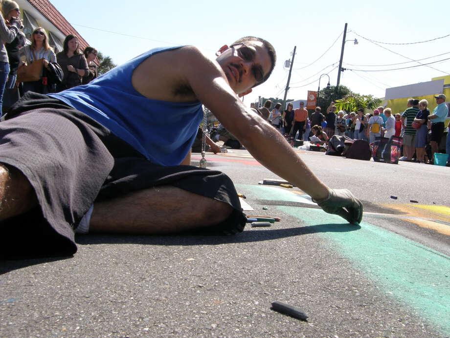 GROUNDWORK: Julio Jiminez, a 2011 Via Colori featured artist, also took part in the Sarasota, Fla., festival. Photo: Anat Ronen