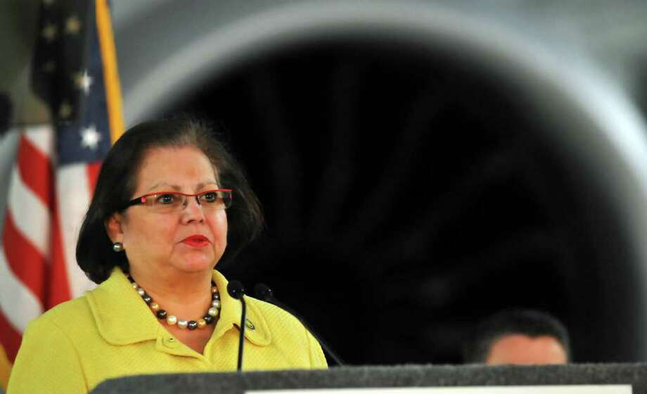 Texas Secretary of State Hope Andrade speaks during the unveiling of the Boeing 787 Dreamliner at the company facility in San Antonio, March 11, 2011. / Robert Jerstad   !    !RPO-= <