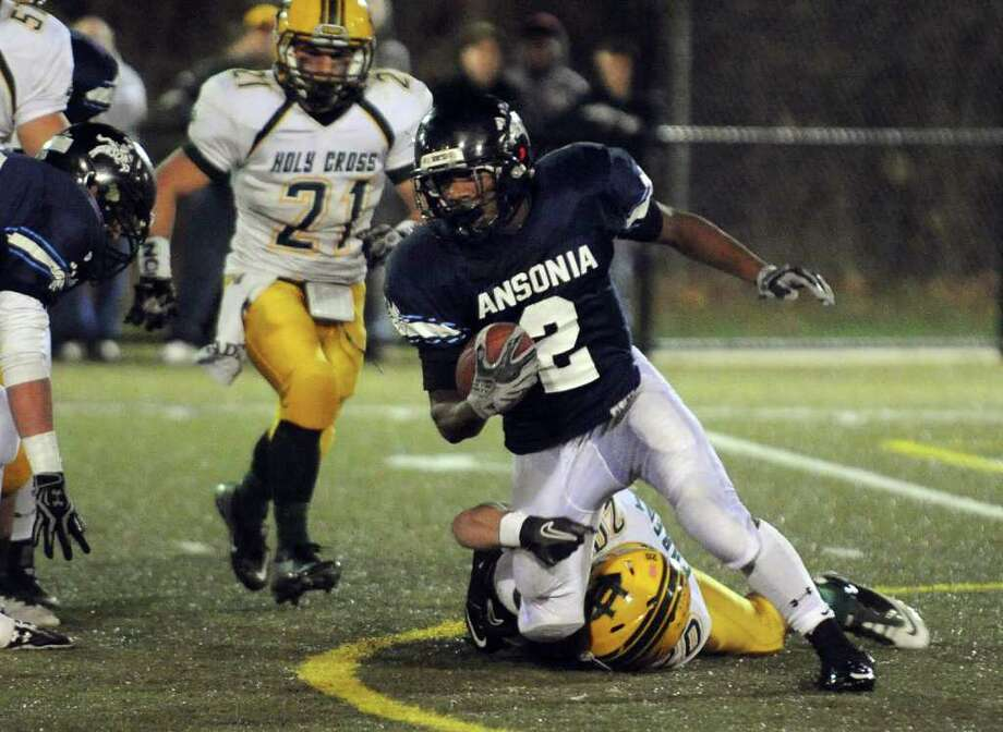Highlights from NVL Chapionship football action between Holy Cross and Ansonia in Waterbury, Conn. on Thursday November 17, 2011. Ansonia's #2 Arkeel Newsome. Photo: Christian Abraham / Connecticut Post