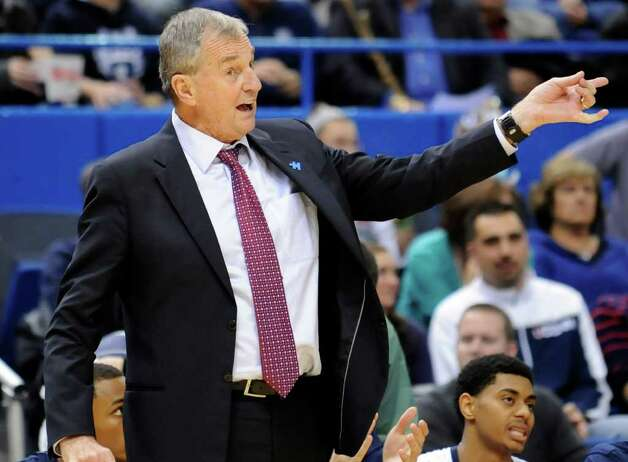 Connecticut coach Jim Calhoun expresses himself in the second half of an NCAA  college basketball game in Hartford, Conn., Thursday, Nov. 17, 2011. UConn defeated Maine 80-60. (AP Photo/Bob  Child) Photo: Bob Child/Associated Press / FR170410 AP