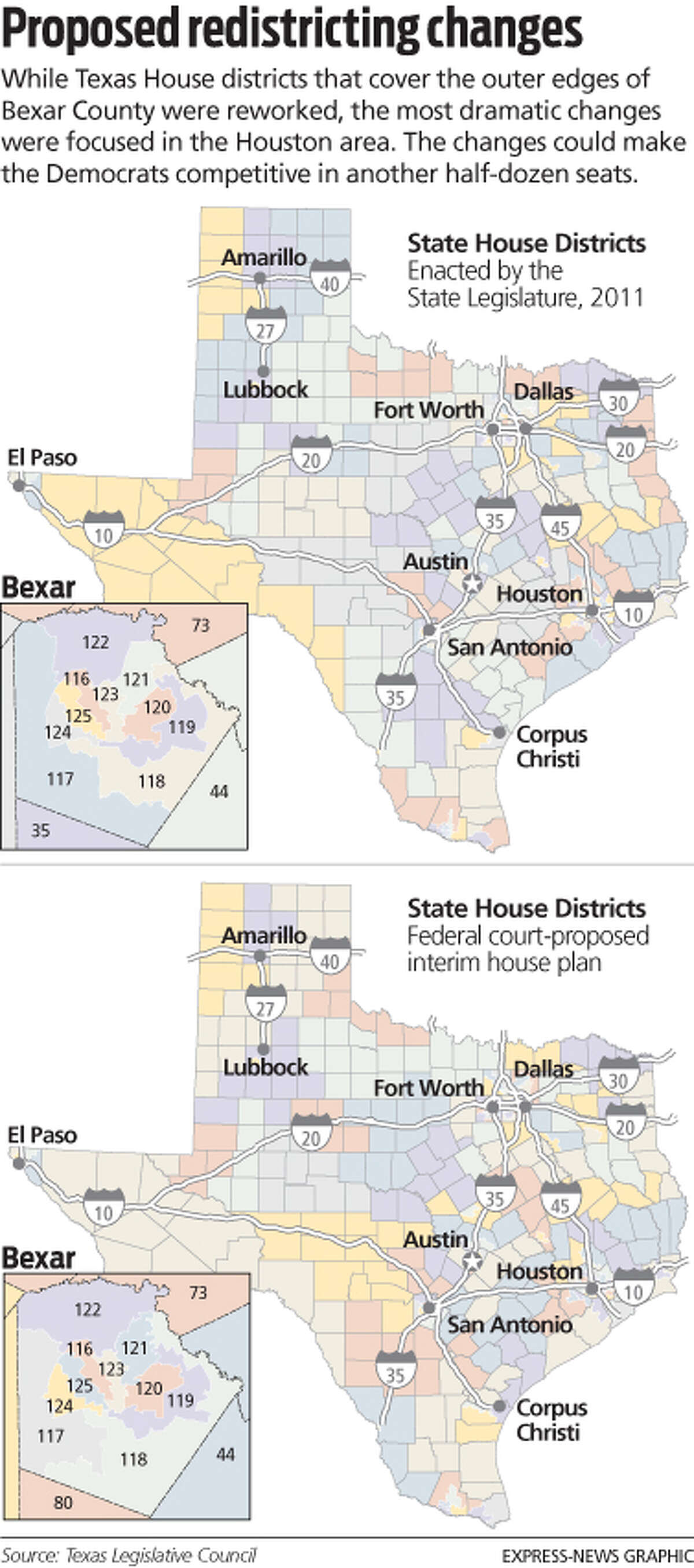 Proposed redistricting change to Texas state house districts