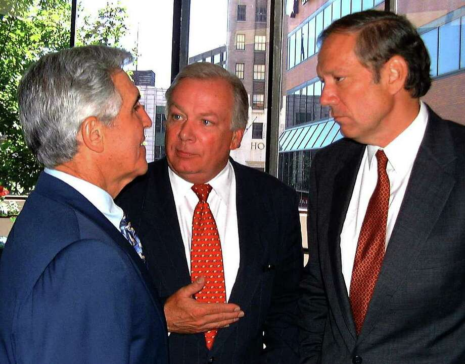 Special to the Times Union by Alan Solomon -- From left, Senate Majority Leader Joe Bruno, State GOP chairman Bill Powers and Governor George Pataki at the Crowne Plaza hotel before the State Republican lucheon. Photo: ALAN SOLOMON / ALBANY TIMES UNION
