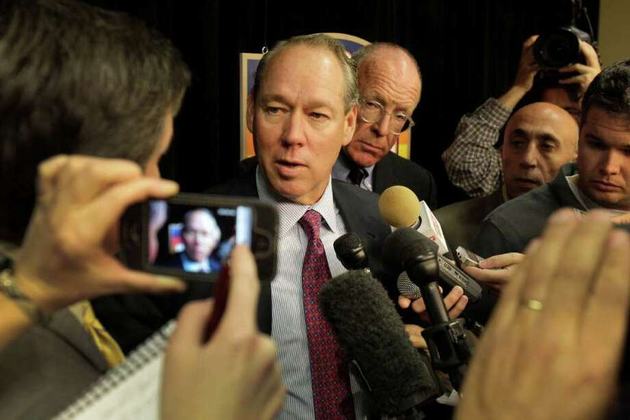 MELISSA PHILLIP : CHRONICLE MIC MANIA: Jim Crane, the Astros' designated owner, gets a taste of media attention to come Thursday at Minute Maid Park. Photo: Melissa Phillip / © 2011 Houston Chronicle