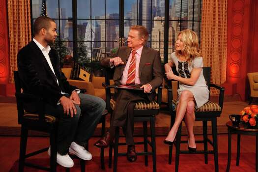 "Spurs guard Tony Parker (left) chats with Regis Philbin and Kelly Ripa on ""Live with Regis and Kelly."" Photo: COURTESY DISNEY/ABC"