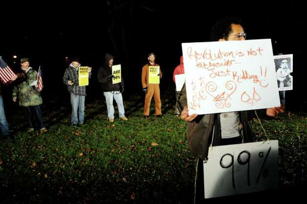 Occupy Albany protestors purposely break the 11 p.m. curfew on Thursday, Nov. 17, 2011, at Lafayette Park in Albany, N.Y. (Cindy Schultz / Times Union) Photo: Cindy Schultz