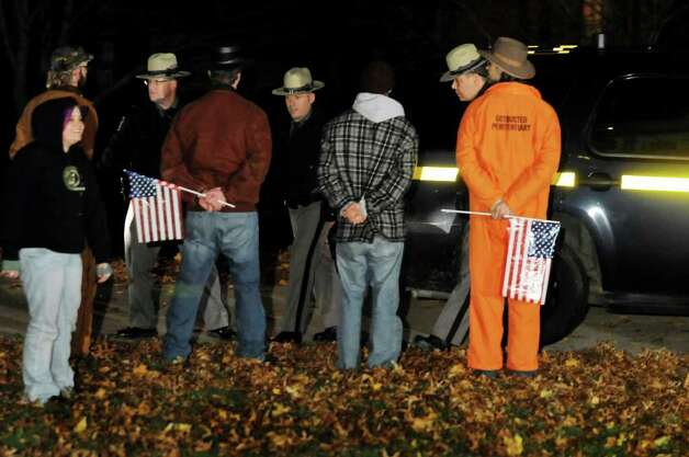 State troopers arrest four Occupy Albany protestors for breaking the 11 p.m. curfew on Thursday, Nov. 17, 2011, at Lafayette Park in Albany, N.Y. (Cindy Schultz / Times Union) Photo: Cindy Schultz