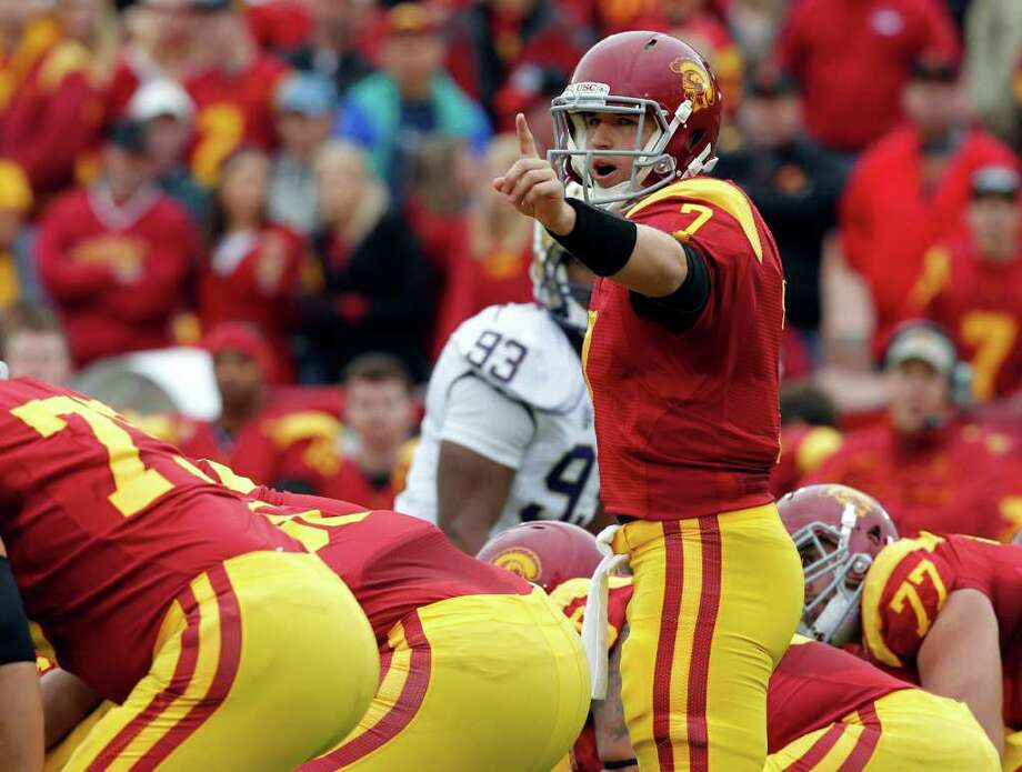 USC quarterback Matt Barkley wasn't sharp in a loss to Oregon last season, completing just 53.1 percent of his passes with two interceptions. Photo: AP