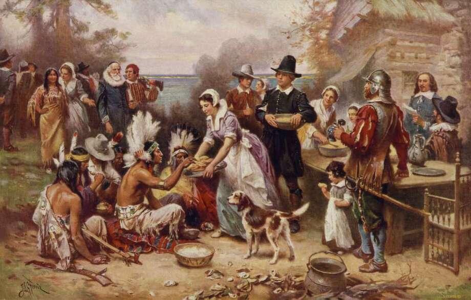 ?The first Thanksgiving?: la primera celebración, ilustrada por el artista estadounidense JLG Ferris. Photo: EFE