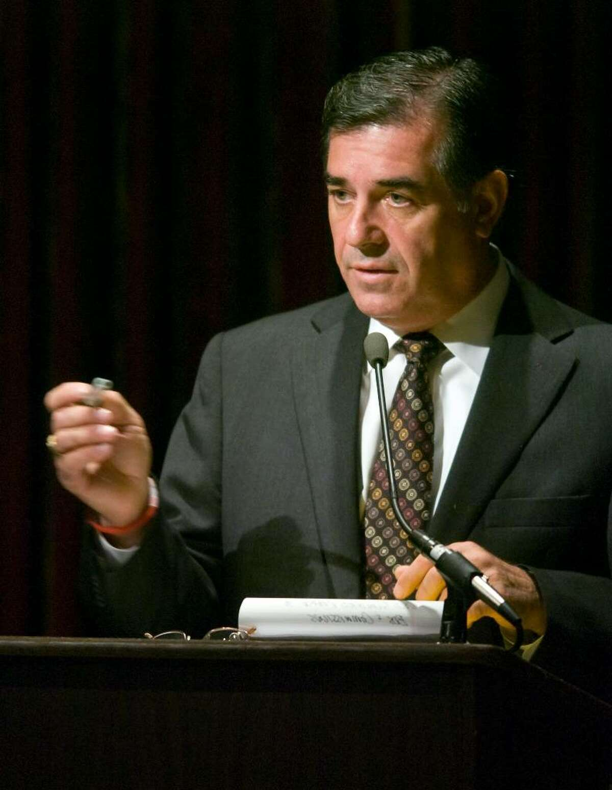 Republican mayoral candidate Michael Pavia speaks during a mayoral debate hosted by the The Prometheum at the Italian Center in Stamford, Conn. on Wednesday, October 21, 2009.