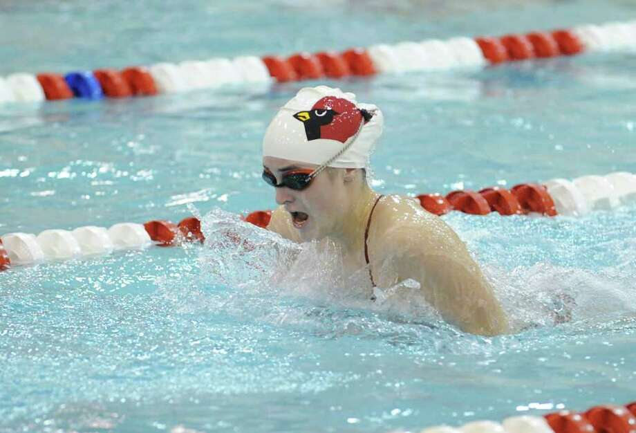 Maddie Dunn of Greenwich High School swims the breaststroke leg during the 200 IM relay in girls high school swimming between Greenwich High School and Staples High School at Greenwich High School, Wednesday, Oct. 19, 2011. Photo: Bob Luckey / Greenwich Time