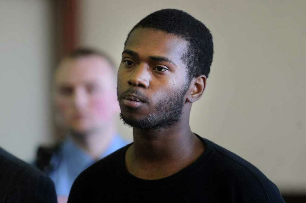 Donnell Williams, 22, of Bridgeport, is arraigned in Superior Court, on Golden Hill Street in Bridgeport, Conn., Nov. 18th, 2011. Williams allegedly shot and killed a neighbo'rs dog in September, and is charged with cruelty to animals, unlawful discharge of a firearm, first-degree reckless endangerment, risk of injury to a minor, criminal possession of a firearm and carrying a pistol without a permit on a warrant. As result of the raid that led to his arrest, Williams is also charged with possession of narcotics, possession of narcotics with intent to sell, possession of narcotics in a drug factory, two counts of possession of a firearm and risk of injury to a minor.