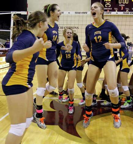 FOR SPORTS - Poth's Jordan Kotara, right, celebrates with her teammates, including Kelsee Felux (14) and Corin Nelson (15), after defeating Nocona in the class 2A state volleyball final at Strahan Coliseum at Texas State University on Saturday, Nov. 19, 2011. MICHAEL MILLER / mmiller@express-news.net Photo: MICHAEL MILLER, SAN ANTONIO EXPRESS-NEWS / mmiller@express-news.net