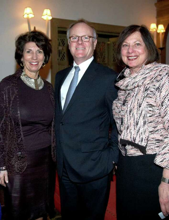 From left, Pamela Fiori, Town & Country magazine editor-at-large; Daniel FitzPatrick, BNY Capital Mellon Wealth Management regional managing director; and Adrianne Singer, president and chief executive of YWCA Greenwich, at a YWCA Greenwich women's leadership seminar Nov. 16 at The Field Club of Greenwich on Lake Avenue. Photo: Contributed Photo / Greenwich Time Contributed