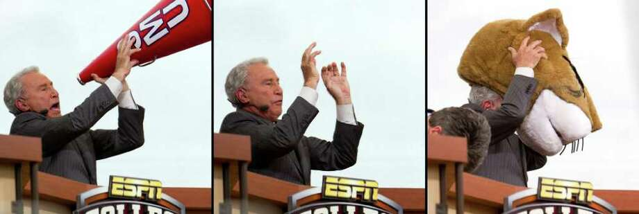 """A three photo sequence shows Lee Corso during an unscripted moment where he dropped an F-bomb on the GameDay broadcast. Corso picked up an SMU megaphone and held it to his mouth, indicating he was going with the Mustangs, but then tossed it aside, said, """"Ah, (bleep) it,"""" and donned the headgear of Shasta, the UH mascot. Photo: Smiley N. Pool, Houston Chronicle / © 2011  Houston Chronicle"""