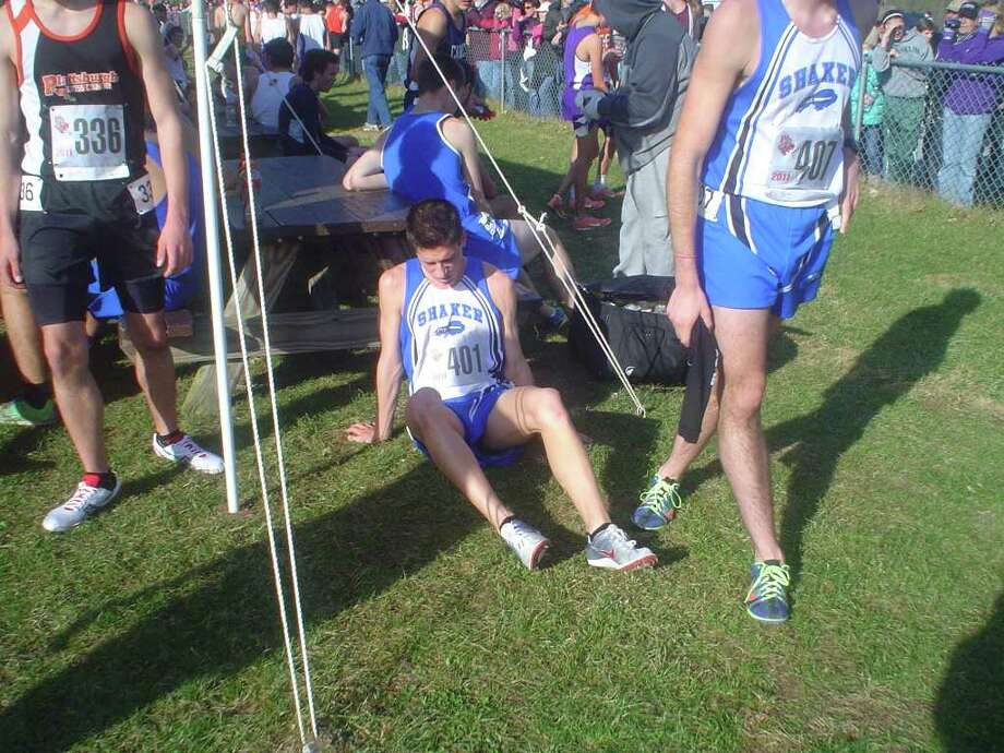 Shaker's Mike Libruk recovers from the race. (Sean Martin/Special to the Times Union)