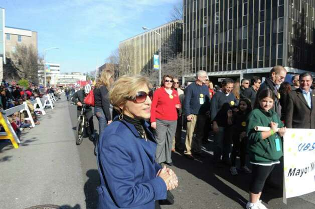 The DSSD President Sandy Goldstein on the scene as the UBS Parade Spectacular welcomed tens of thousands to downtown Stamford Sunday, November 20, 2011. The most welcome guest, though, was the clear skies and temperatures in the low 60s. Photo: Keelin Daly