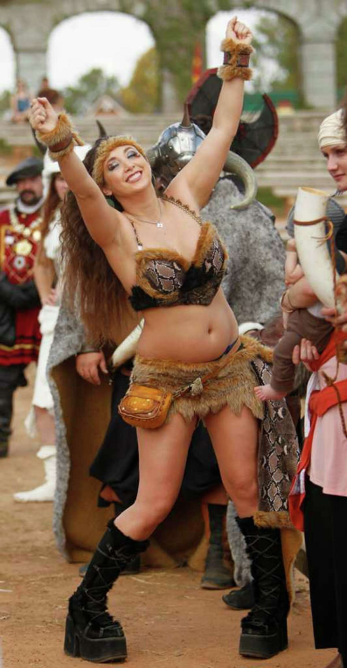 Participant Heather Pacheco won 3rd place for her barbarian costume during the Best Dressed Barbarian Contest at the Renaissance Festival on Sunday, Nov. 20, 2011, in Plantersville.