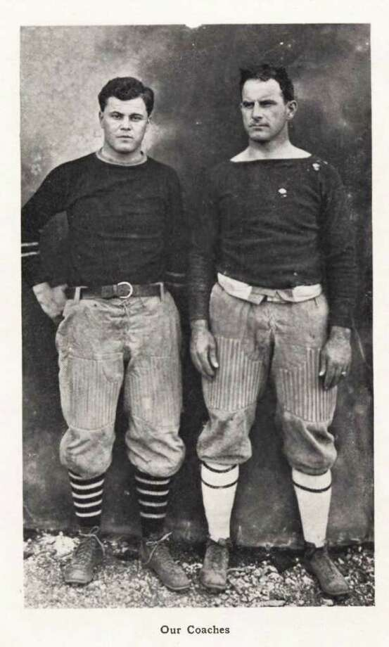 "Joe Utay, left, and Charley Moran coached the Texas Aggies in 1913. Moran is credited with developing the ""Aggie Spirit."" (Cushing Memorial Library and Archives, Texas A&M University)"