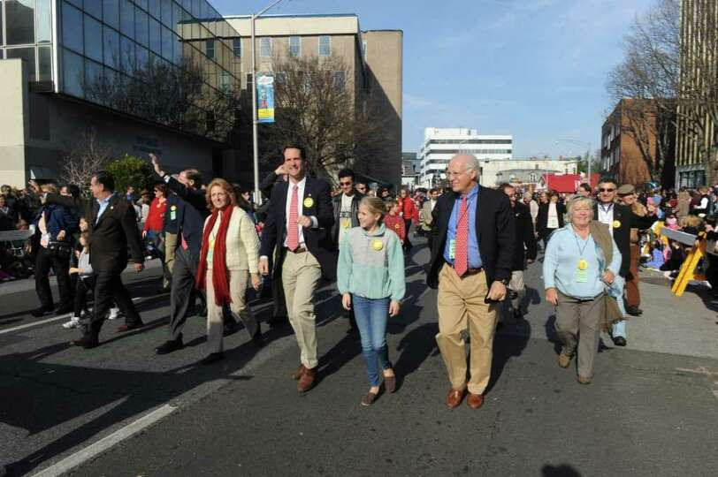 Dignitaries including Mayor Michael Pavia, Senator Richard Blumenthal, Congressman Jim Himes and for