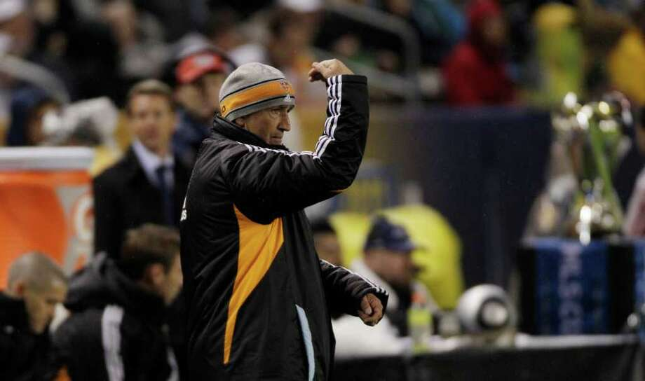 Houston Dynamo head coach  makes a substitution during the second half of the MLS Cup soccer match at the Home Depot Center Sunday, Nov. 20, 2011, in Carson, Calif. Photo: Brett Coomer, Houston Chronicle / © 2011 Houston Chronicle