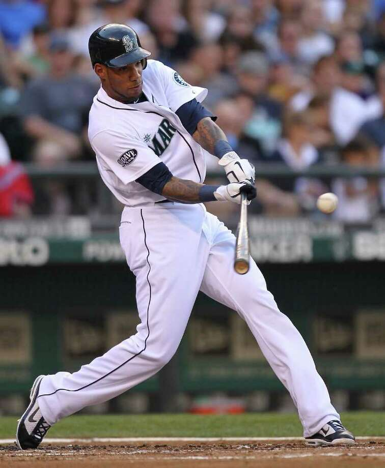 Greg Halman of the Seattle Mariners doubles in the second inning against the San Diego Padres at Safeco Field on July 2, 2011 in Seattle. Photo: Otto Greule Jr, Getty Images / 2011 Getty Images