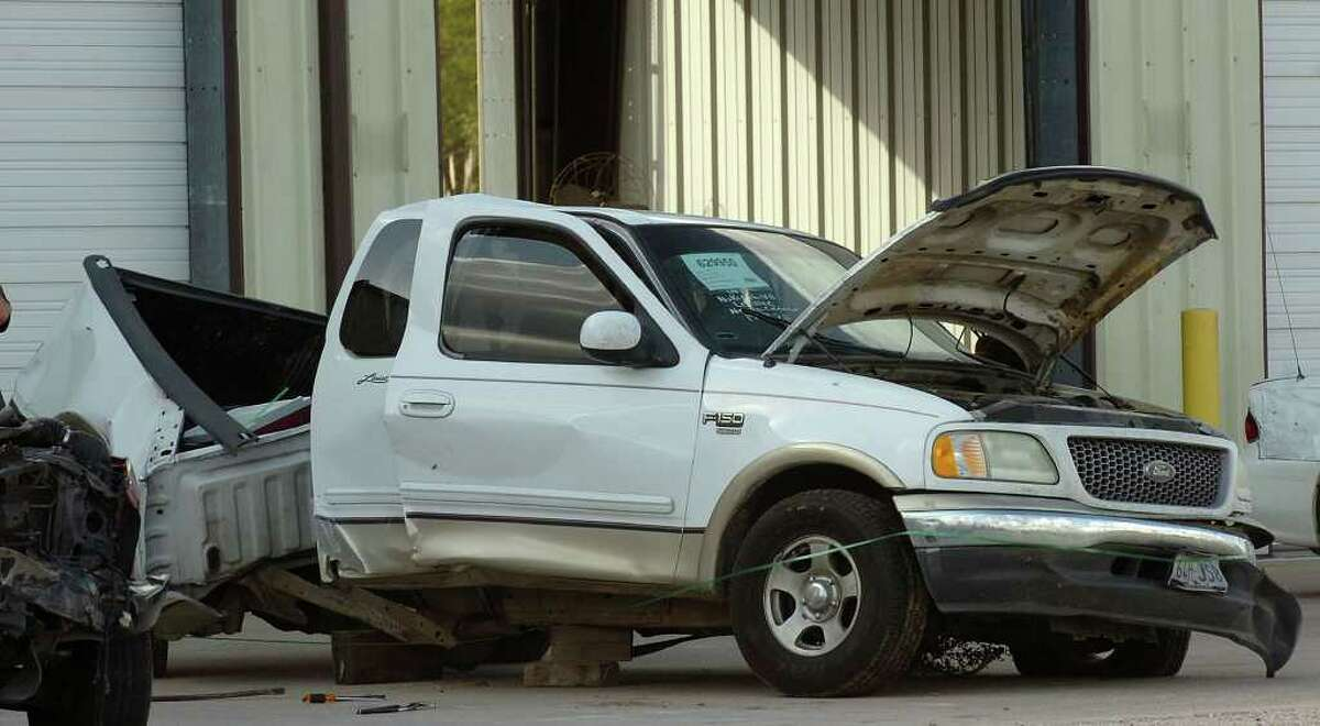Private investigators inspected Monday the truck in which Vidor teens Kristen Kirkland and Mykala Ross were riding in Saturday when they were killed in an accident. A lawsuit has been filed by Kirkland's father. Photo taken Monday, November 21, 2011 Guiseppe Barranco/The Enterprise