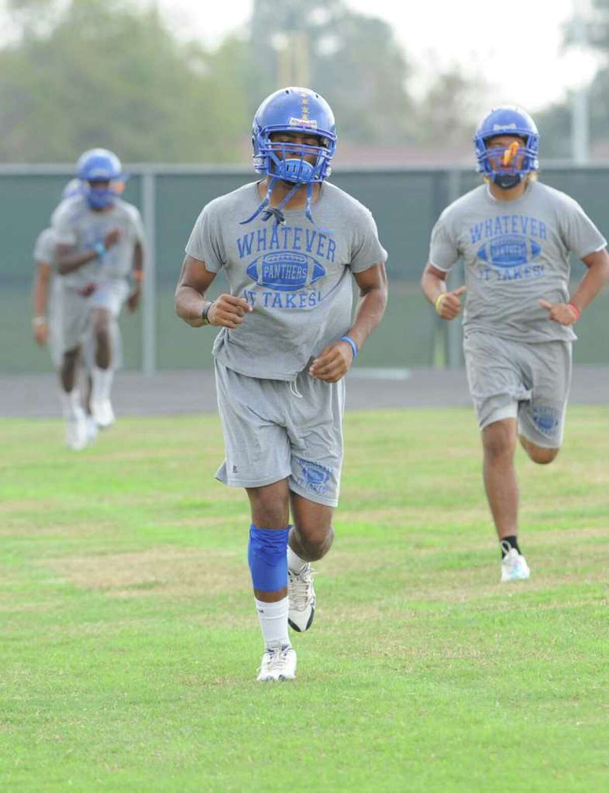 Ozen defensive end Tyrell Collins, ran before a light practice Monday morning. Collins has been one of the Panthers' top defensive players this season. He helped Ozen hold Brenham's high-scoring offense to 10 points in Saturday's game. Dave Ryan/The Enterprise