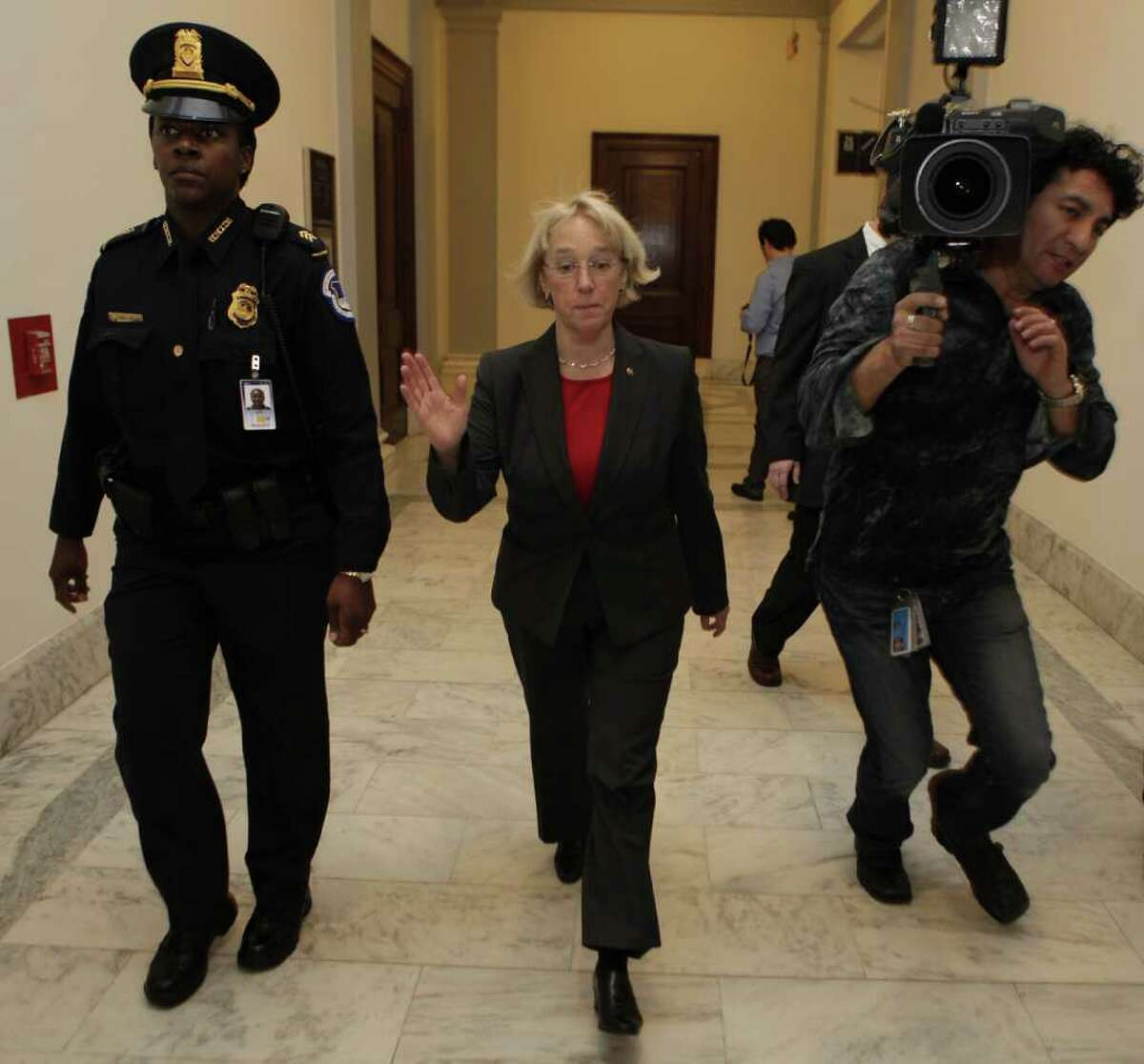 Supercommittee Democrat co-chair Sen. Patty Murray, D-Wash., leaves a meeting between Republican and Democratic members of the