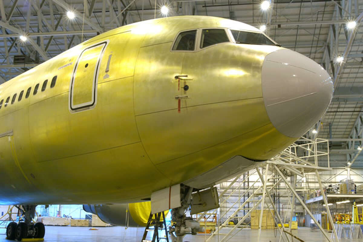 The first Boeing KC-767 aerial refueling tanker for Italy awaits production modifications at the Boeing-Wichita Modification Center.
