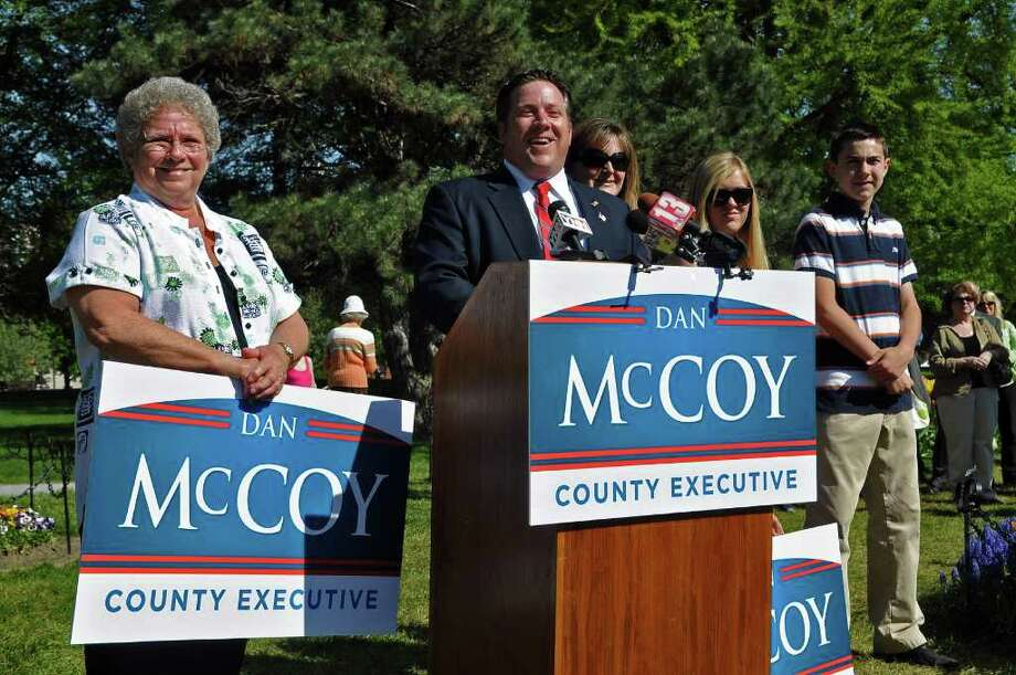 Daniel McCoy, newly elected county executive, hired an attorney to help with his transition from the position of chairman of the Albany County Legislature. Lawmakers disagree on whether the hire was appropriate and say it should?ve been approved by both the Audit and Finance and the Personnel committees. McCoy announced he was running for county executive with his mother, Marie, above far left, his wife, Alyssa, third from right, and their children, Egan and Tyghe. (Philip Kamrass/Times Union) Photo: Philip Kamrass / 00013124A