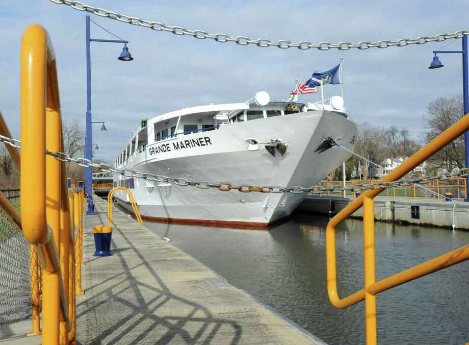 The Grand Mariner cruise boat waits to go through lock 2 in Waterford, N.Y. Monday, Nov. 21, 2011. The ship, which is owned by Blount Small Ships and based in Rhode Island, is heading back to home port during the 2-week window of canal reopening between storm cleanup and winter.(Lori Van Buren / Times Union) Photo: Lori Van Buren