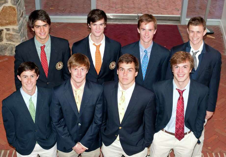 The Brunswick School is turning out some serious lacrosse players. Eight seniors from this year's squad have been recruited to play big-time lacrosse for some of the nation's best lacrosse programs, including Top 25 teams, Colgate, Georgetown and University of Pennsylvania. The eight Bruins are, front row from left: Michael McQuiston, midfield, Trinity; Curt Townshend, defense, Tufts; Billy Heidt, midfield, Dartmouth; Eddie DeDomenico, midfield, Lehigh; Back row, from left: John Baker, defense, Colgate; John Kelly, midfield, Georgetown; Nick Bartlett, attack, University of Vermont; Kip Werner, defense, University of Pennsylvania. Photo: Contributed Photo / Greenwich Citizen