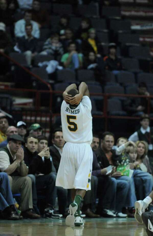 Siena's Evan Hymes reacts after being called for his fifth foul during the second half of Siena's 64-58 loss to St. Bonaventure at the Times Union Center on Monday night Nov. 21, 2011 in Albany, NY. (Philip Kamrass / Times Union ) Photo: Philip Kamrass / 00015373B