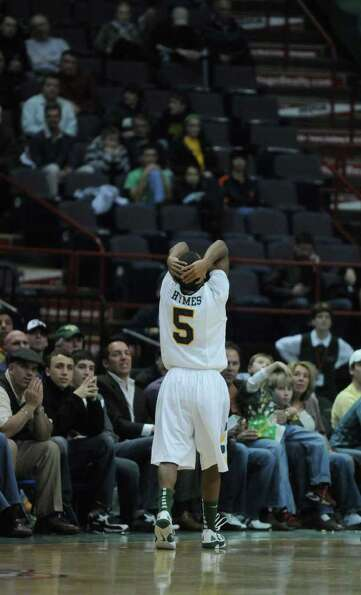 Siena's Evan Hymes reacts after being called for his fifth foul during the second half of Siena's 64