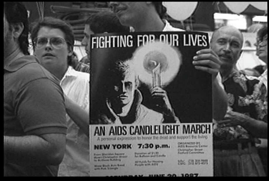 "'87Vigil ""Fighting for Our Lives"" from the film ""Sex in an Epidemic"" (Courtesy the artist) Photo: Sex In An Epidemic"