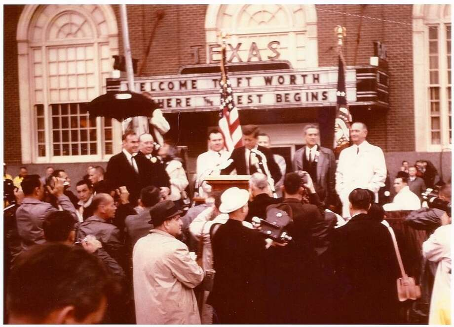 President John F. Kennedy speaks outside the Texas Hotel in Forth Worth the morning before he was assassinated in Dallas. Photo: COURTESY BILLY McKENZIE / Photo by Billy McKenzie
