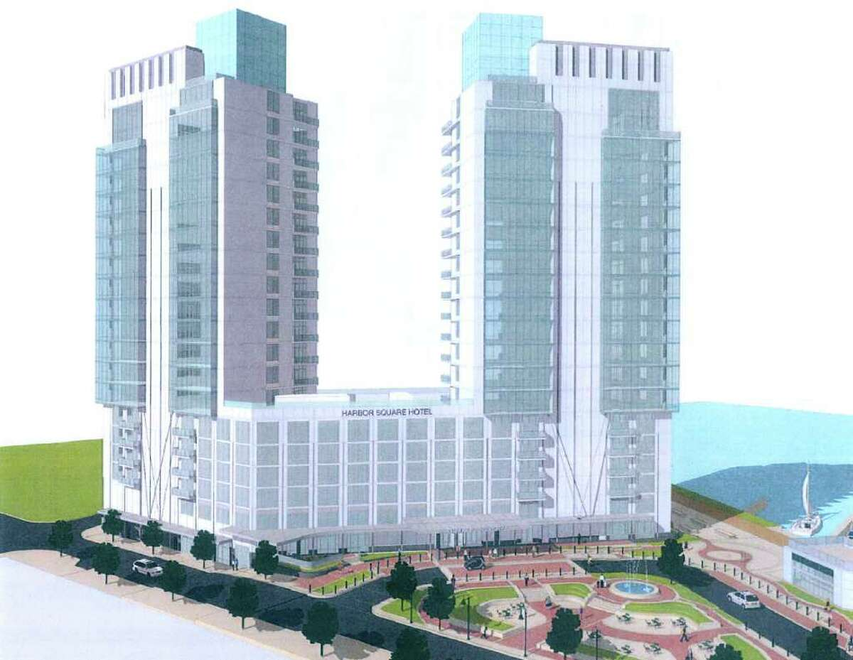 An artist rendering of a proposed 22-story hotel and condominium at Harbor Point. The building, which is part of a larger retail and residential square, is located west of Washington Boulevard and overlooking Stamford Harbor.