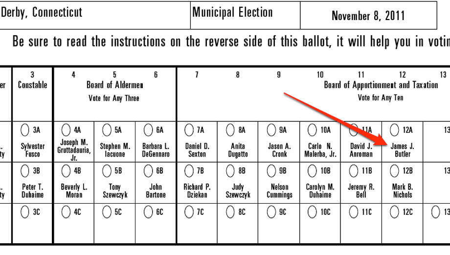 A screen grab of Derby's ballot. Courtesy: Connecticut Secretary of State